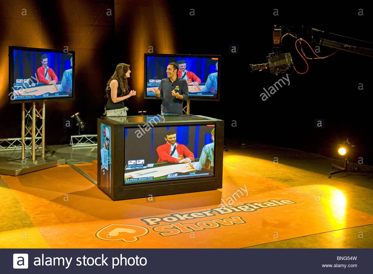 Nathalie Goitom e Cristiano Ruiu,Poker digitale show,Tele Lombardia Immagini Stock