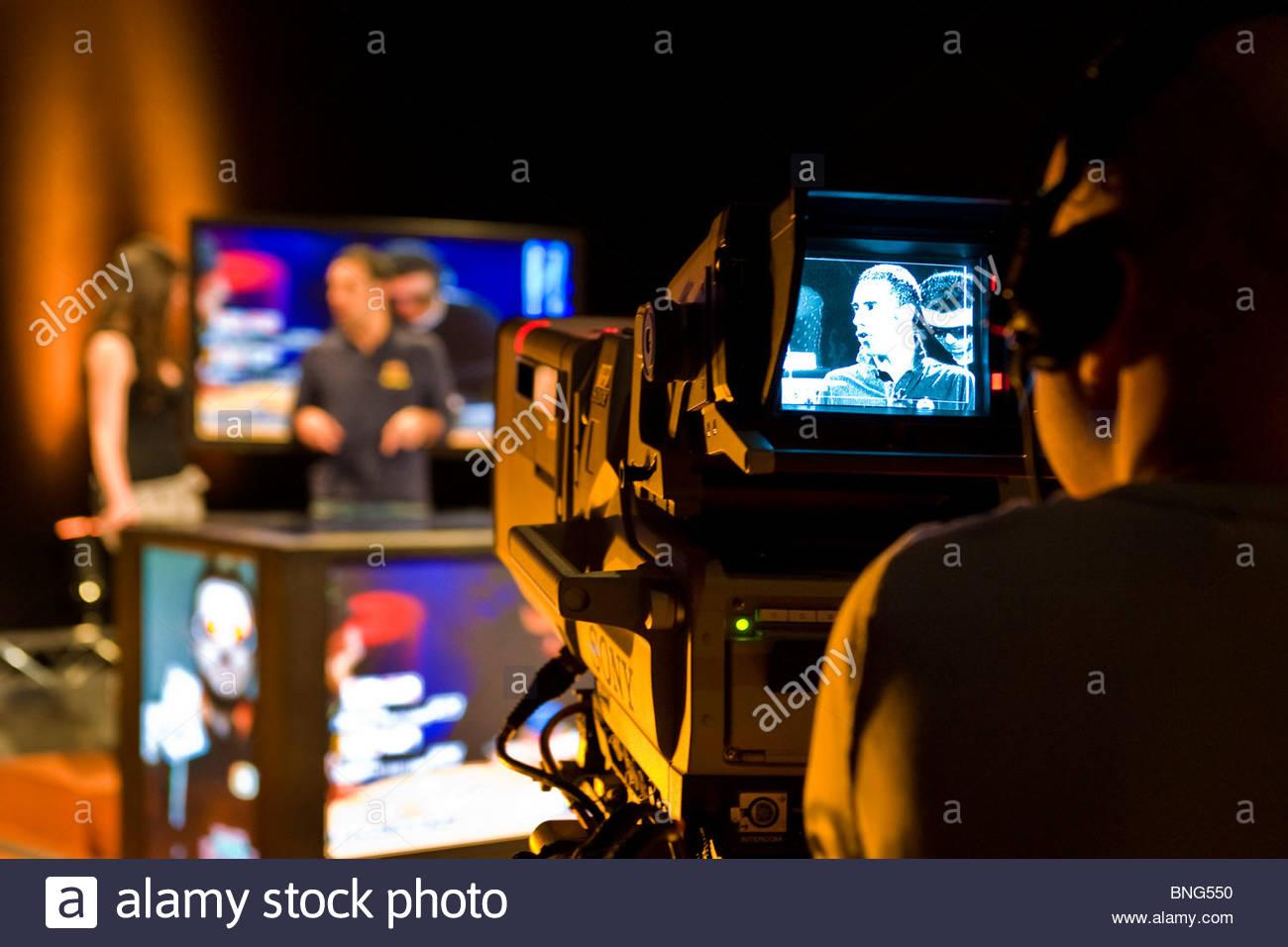 Cameraman,Poker digitale show,Tele Lombardia Immagini Stock
