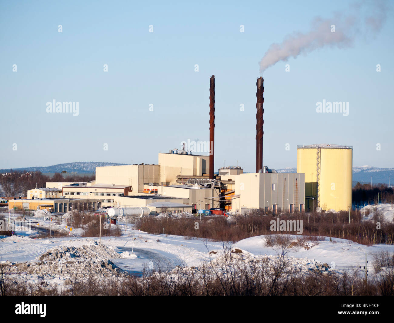 La Svezia, Swe, Lapponia, Kiruna, 2010Apr04: Il Kiruna impianto di incenerimento. Immagini Stock
