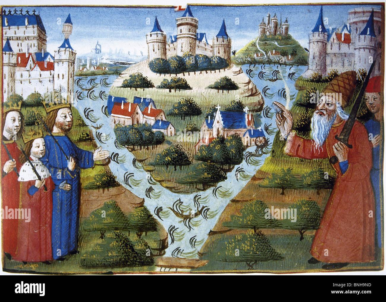 """Trattato di Verdun (843). Miniatura appartenenti al """"Croniques des Rois de France."""" del XV secolo. Immagini Stock"""