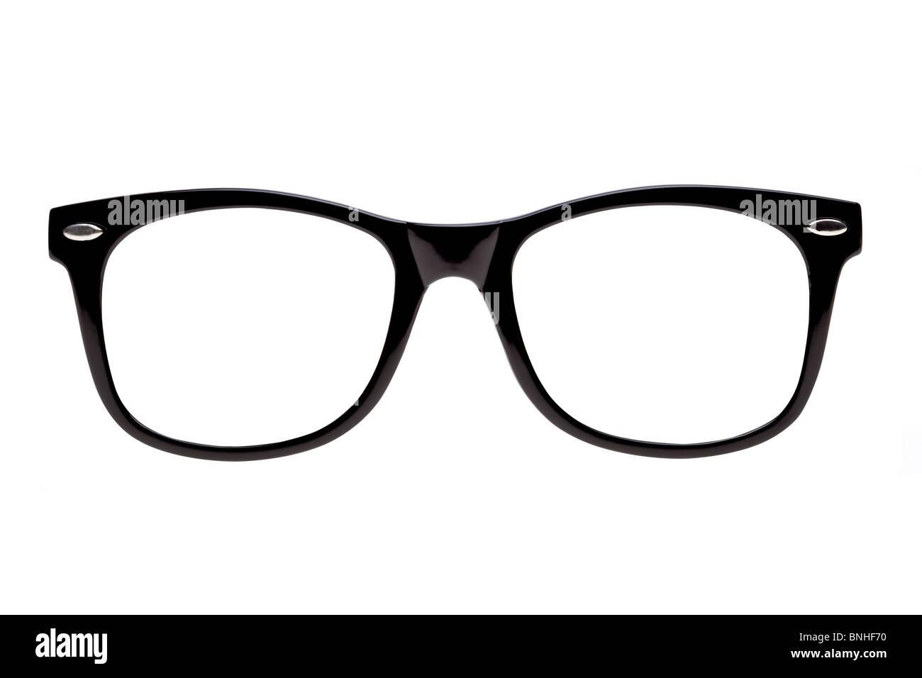Foto di Black montature per occhiali del tipo di occhiali nerds usura, isolato su bianco con i tracciati di ritaglio Immagini Stock