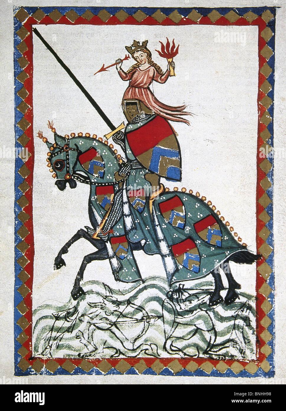 Ulrich von Liechtenstein (1200-1278) , nobile medievale, cavaliere, politico e minnesanger. Ulrich su un viaggio. Immagini Stock