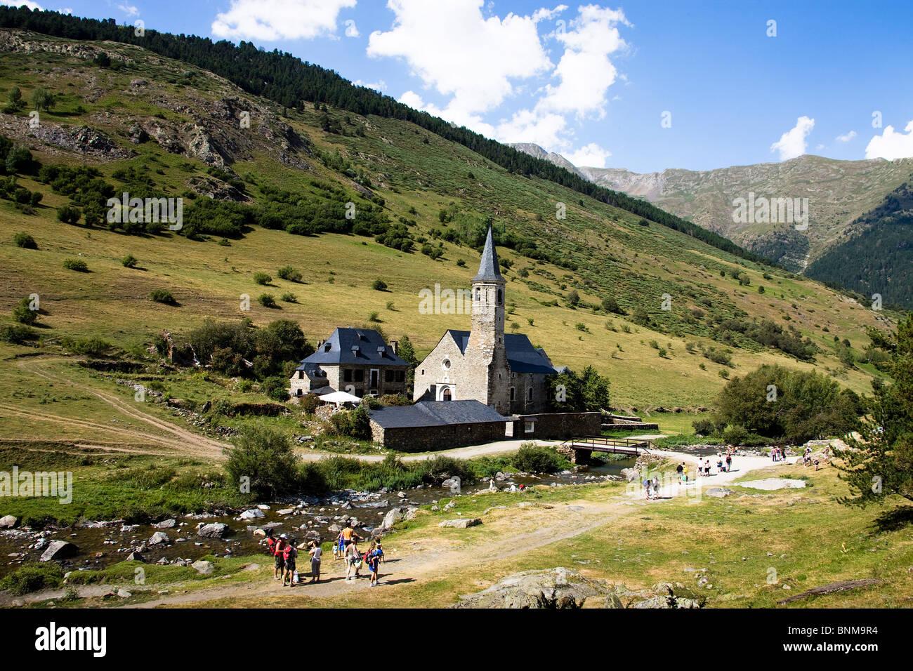 Spagna Catalogna Aran Montgarri church hill holidays travel, Immagini Stock
