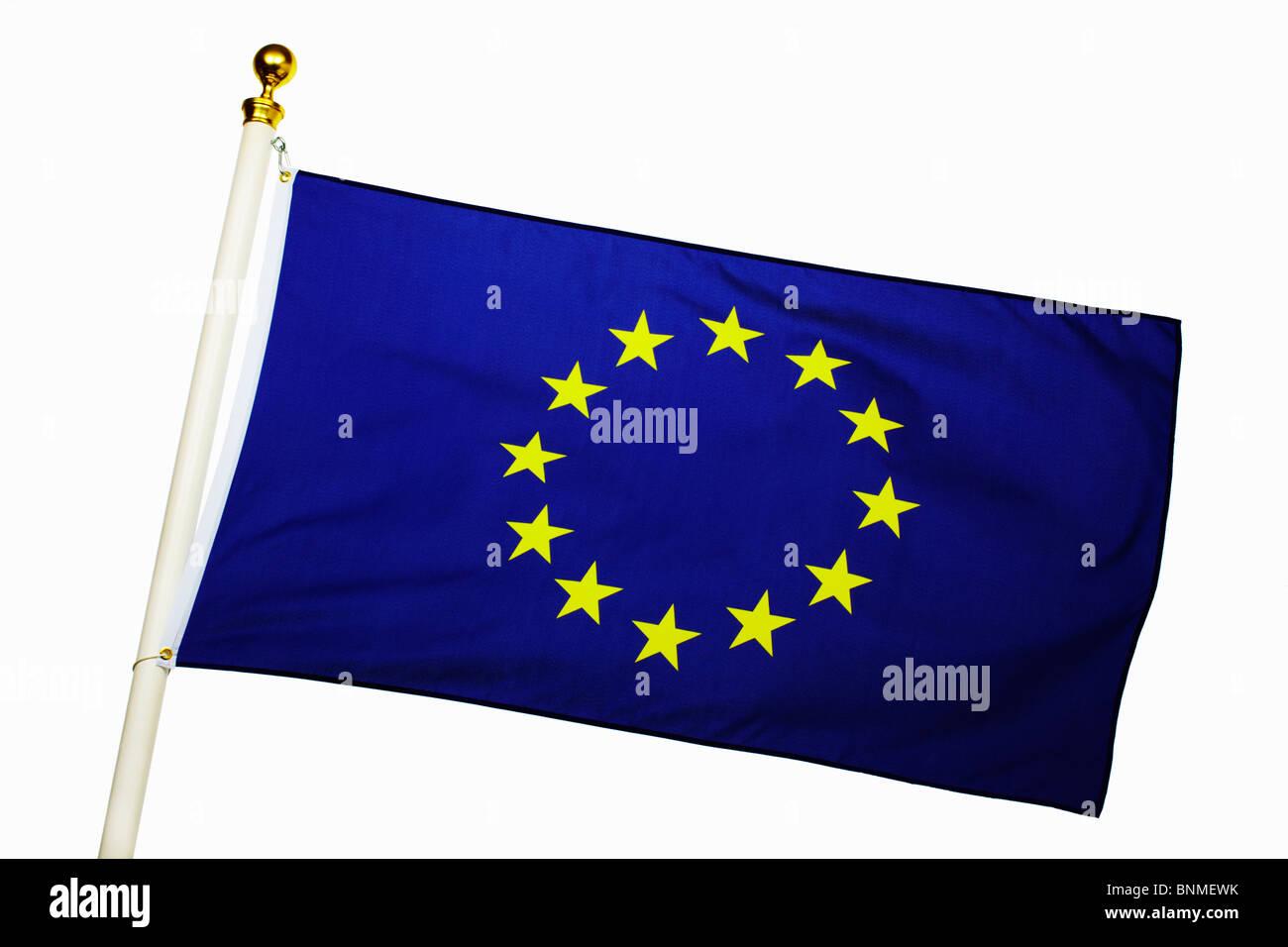 Bandiera dell'Unione europea battenti Immagini Stock