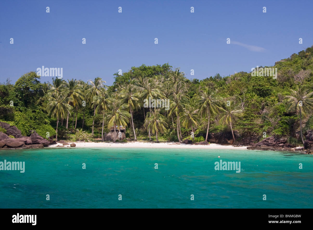 Atmosfera ambiente sogno spiaggia da sogno paradiso di vacanza isola come outdoor lungo palm Phu Quoc mare di sabbia Immagini Stock