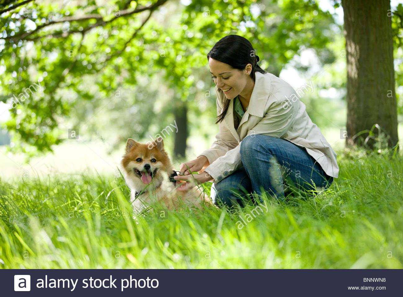 Una giovane donna lasciando che il suo cane fuori il suo filo Immagini Stock