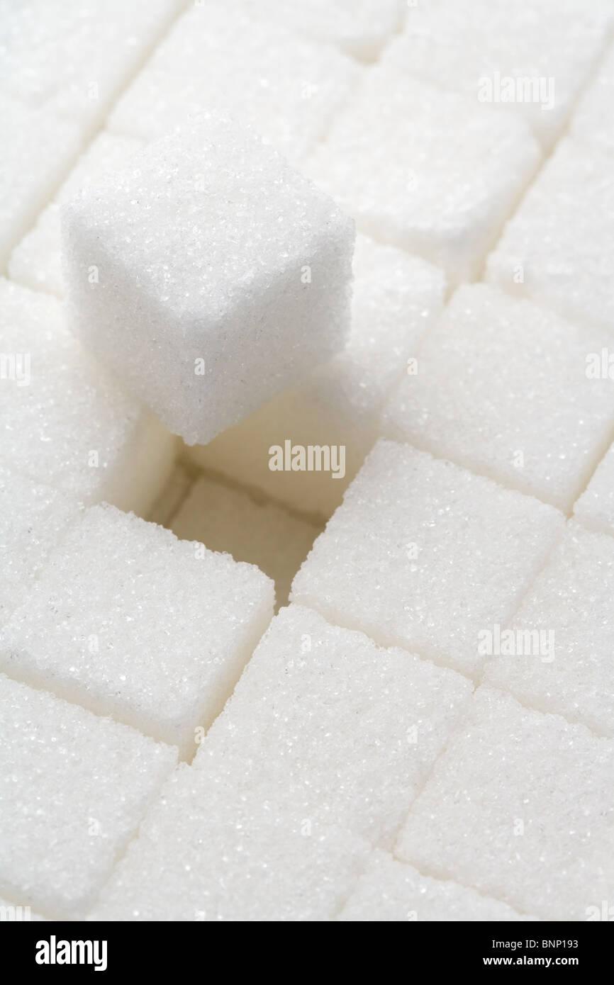 Zolletta di zucchero close up shot Immagini Stock
