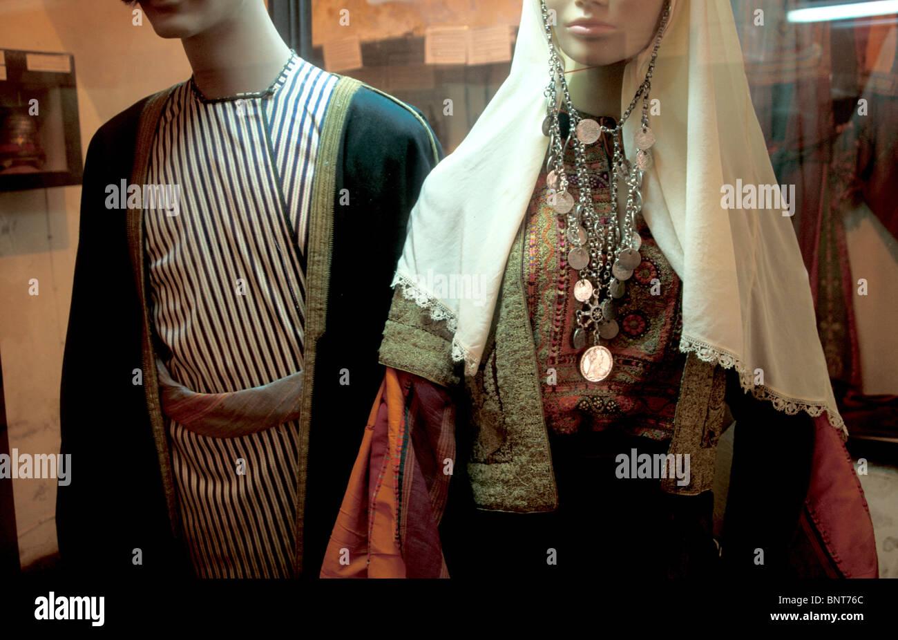 Vecchia Betlemme Museo del Folclore di donne arabe europea. Un tradizionale abbigliamento palestinese Immagini Stock