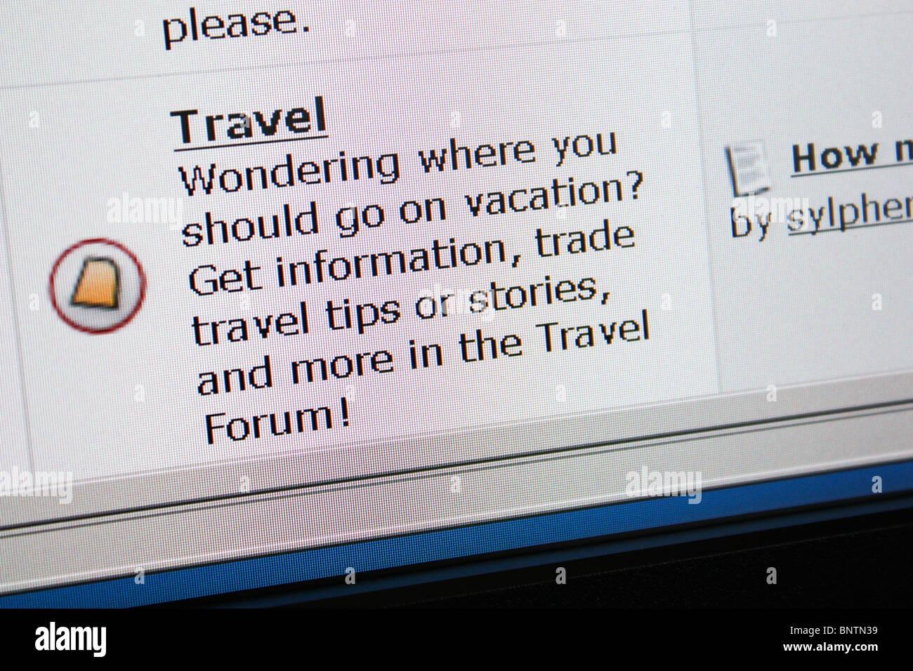 Forum di discussione online travel Immagini Stock