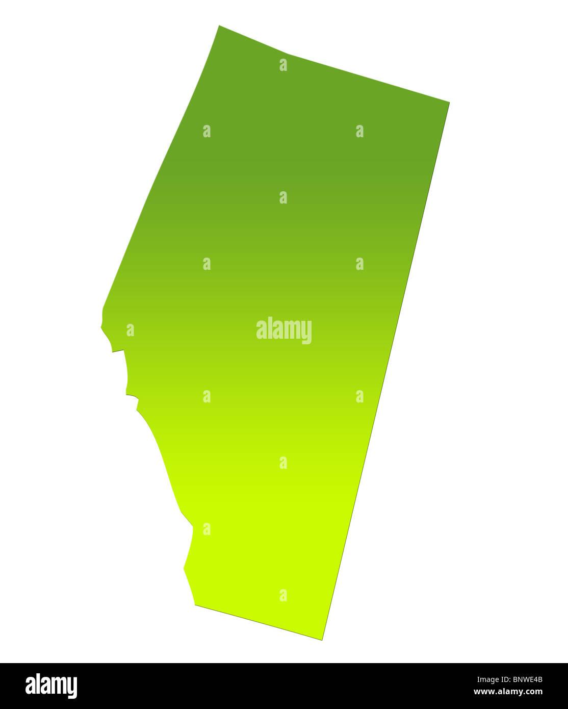 Alberta provincia del Canada mappa di gradiente verde, isolati su sfondo bianco. Foto Stock