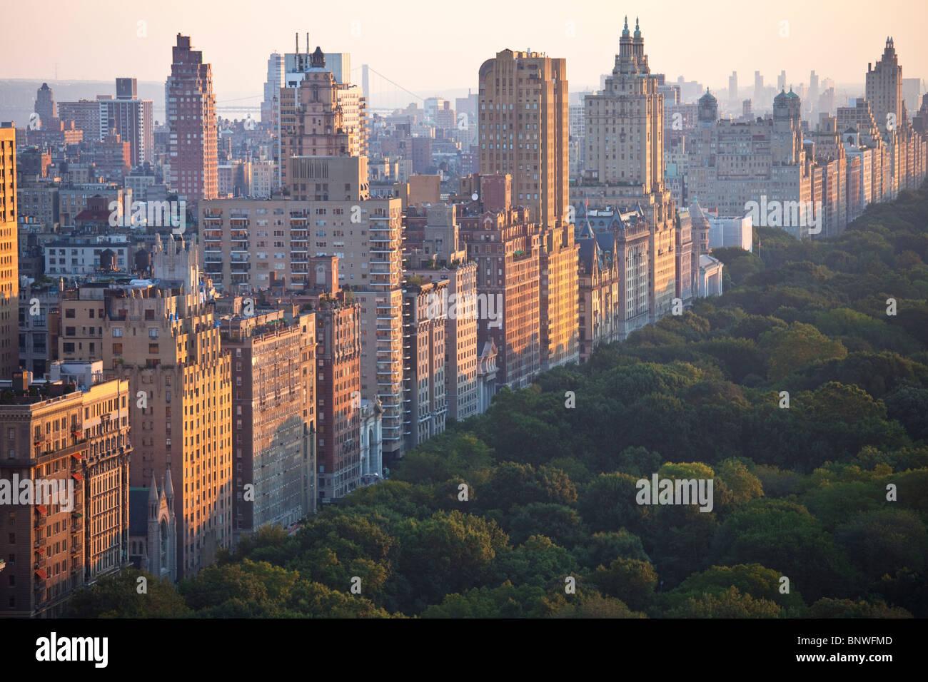 Central Park West e il Central Park di New York City Immagini Stock