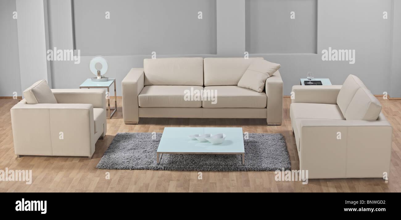 Salotto Bianco In Pelle.Un Moderno Minimalista Salotto Bianco Con Arredi In Pelle