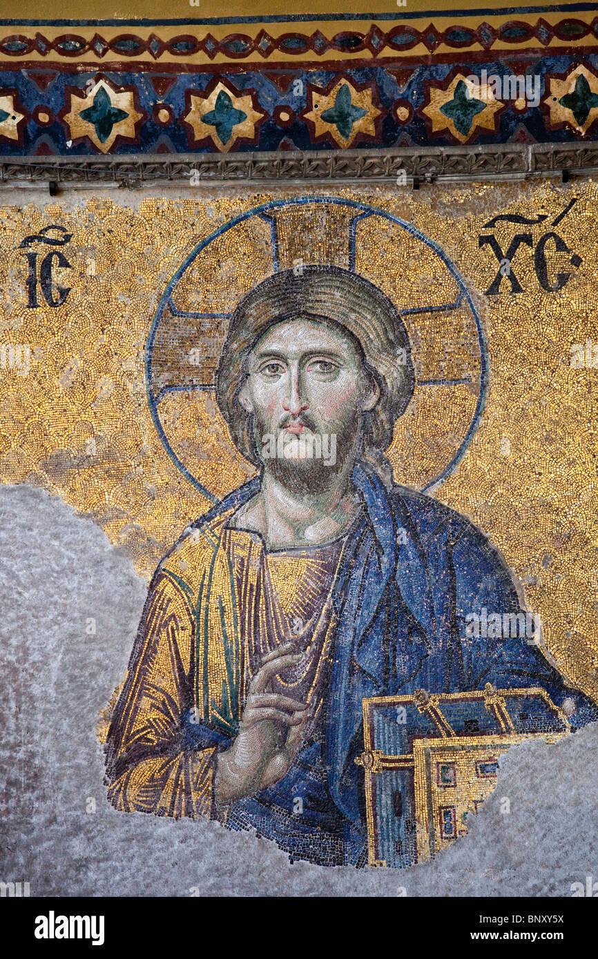 Mosaico all'interno della Basilica di Santa Sofia a Istanbul, Turchia Immagini Stock