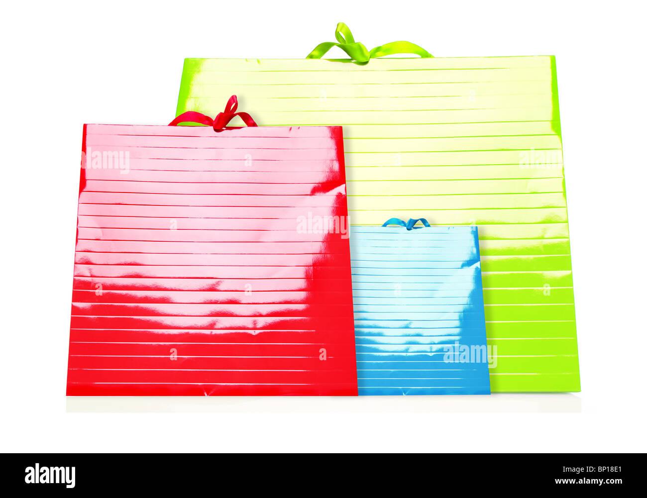Colorata borse per lo Shopping isolato su bianco Immagini Stock
