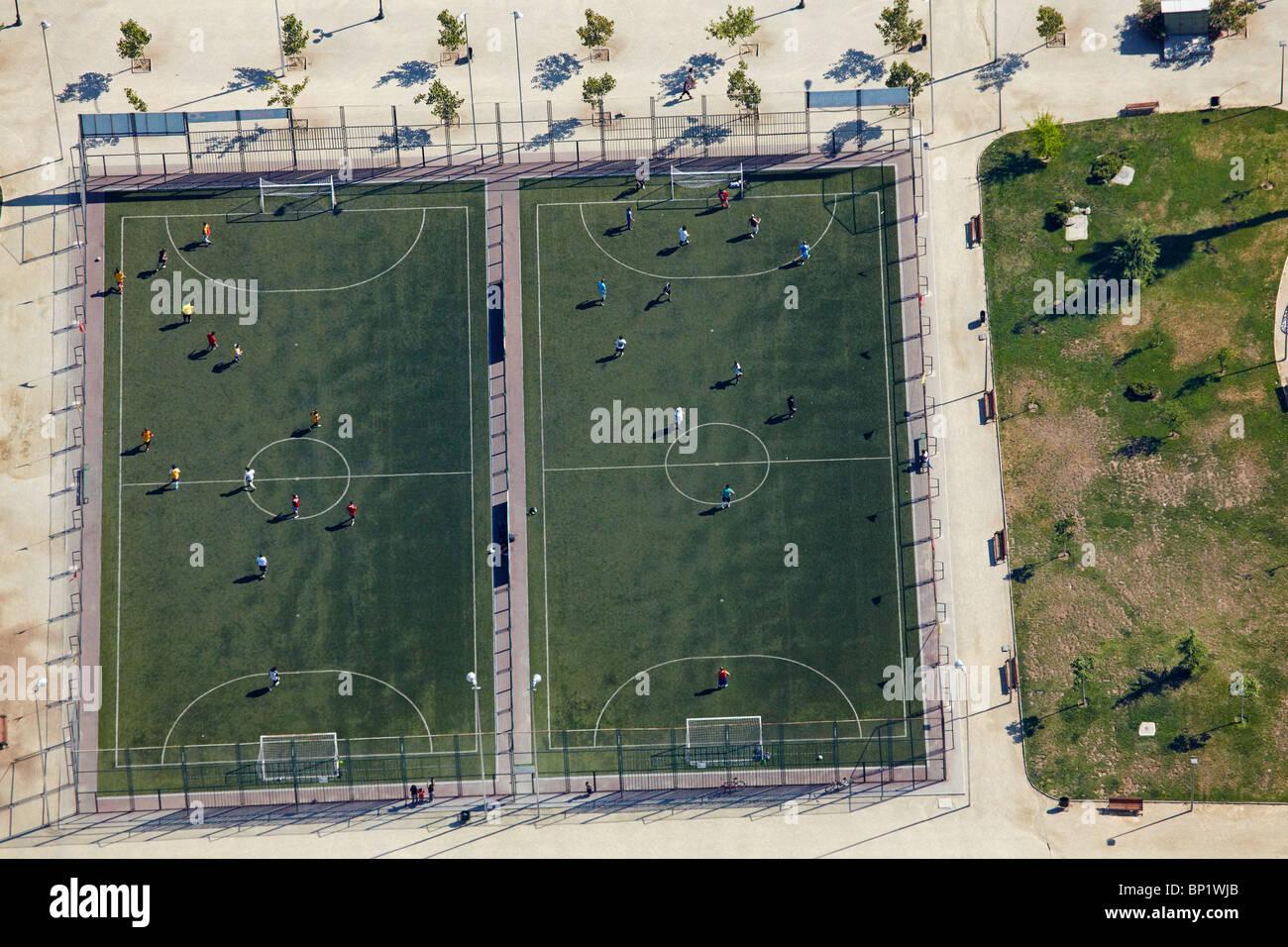 I campi di calcio, Santiago del Cile, America del Sud - aerial Immagini Stock