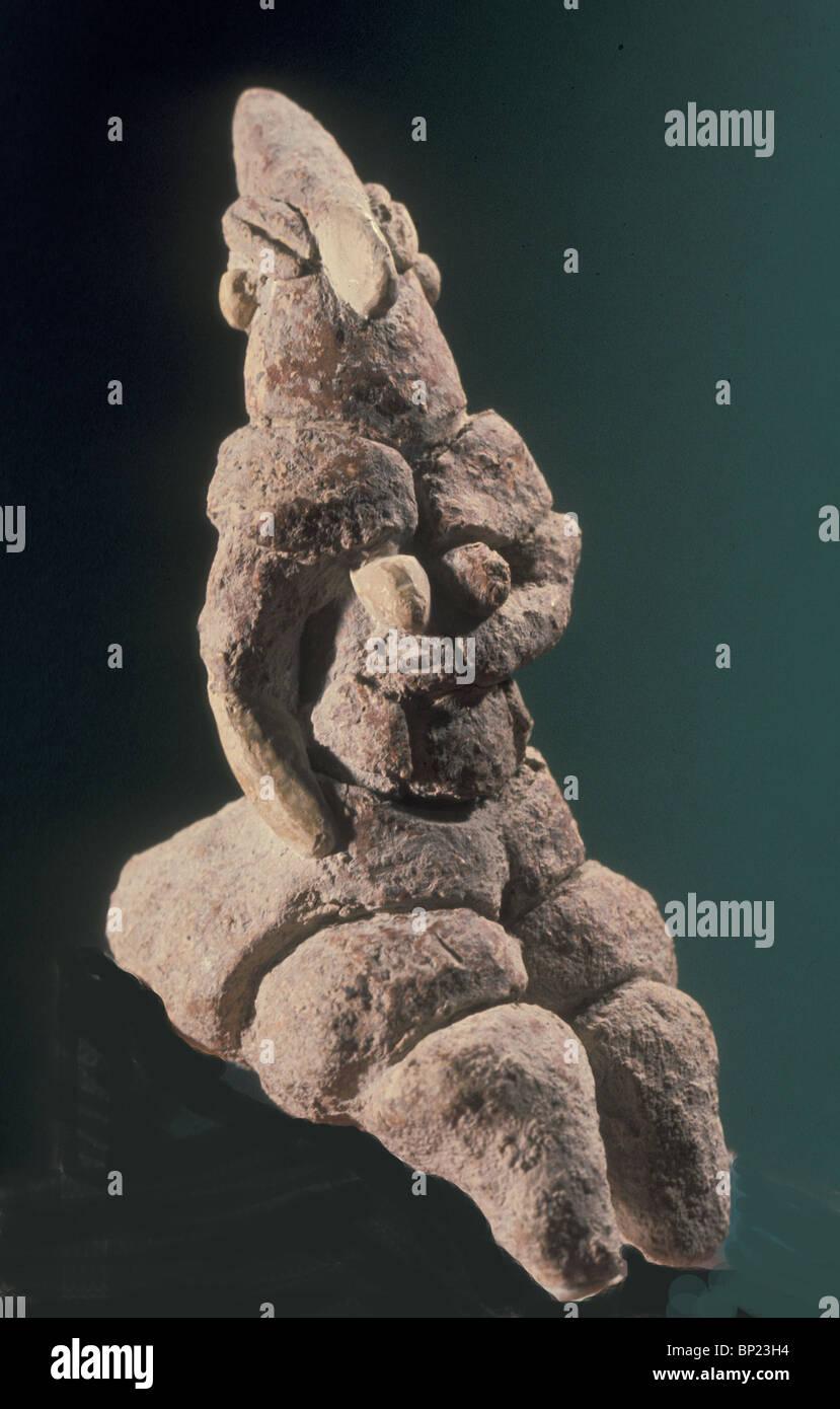 213. Fatti di argilla statuetta femminile TROVATI IN HORVAT MINHA (Valle del Giordano), periodo neolitico 8° Immagini Stock