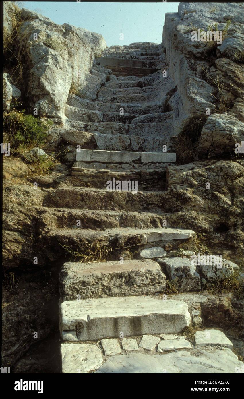 238. Atene, la scalinata che conduce l'areopago da dove Paolo predicò (Atti 17:22-24) Immagini Stock