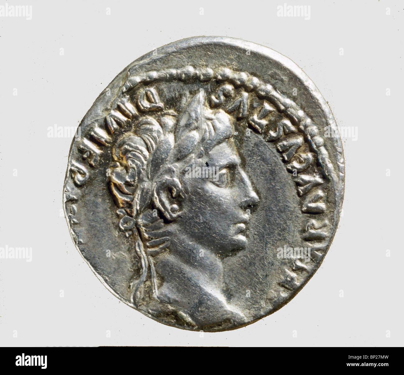 931. Moneta romana con il Busto di imperatore Augusto, (30 BC. - 14 D.C.). Immagini Stock