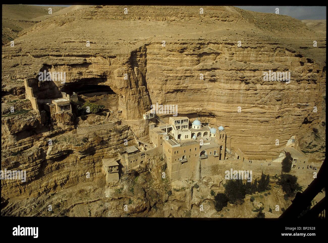 Greco-ortodossi MONASTERO DI ST. GEORGE COSTRUITO IN 5TH. C. A Wadi Kelt nel deserto della Giudea tra Gerusalemme Immagini Stock