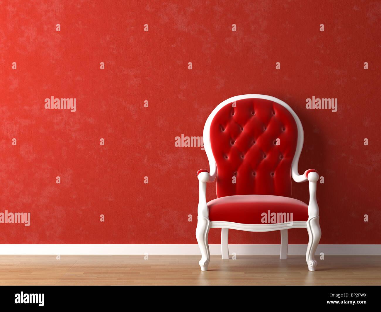 Il bianco e il rosso interior design con elementi minimi Immagini Stock