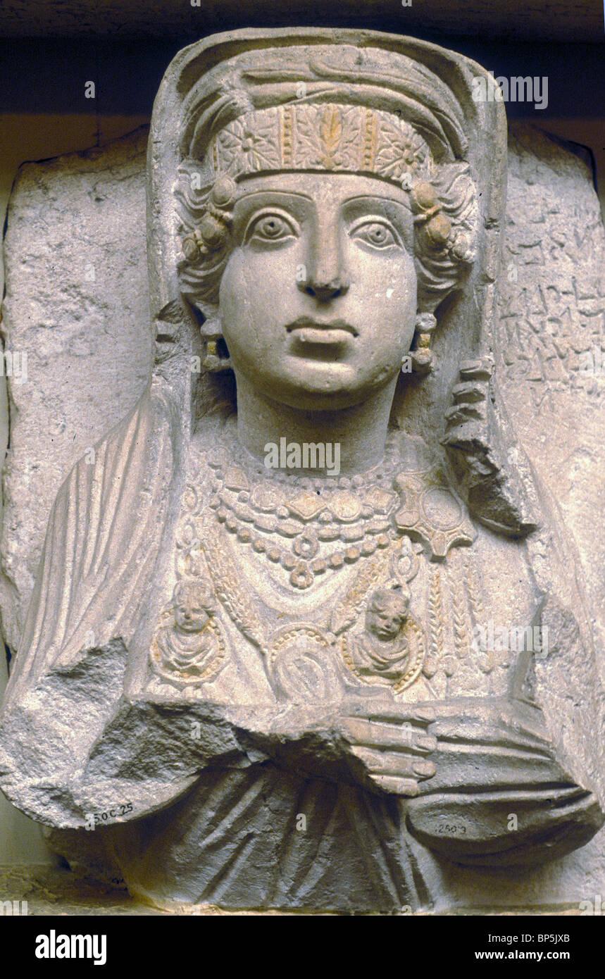 4334. Periodo romano busti funerari provenienti da tombe a Palmyra, raffiguranti i defunti nella loro migliori costumi. Immagini Stock