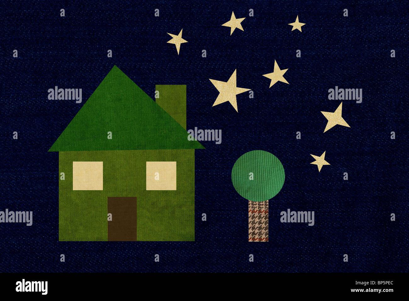 Verde casa colorata nella notte stellata Immagini Stock