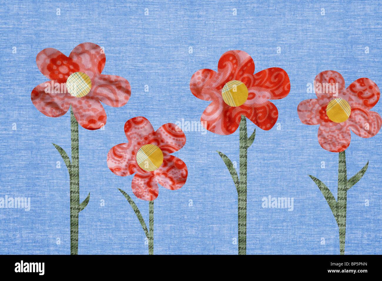 Fiori contro sfondo blu Immagini Stock