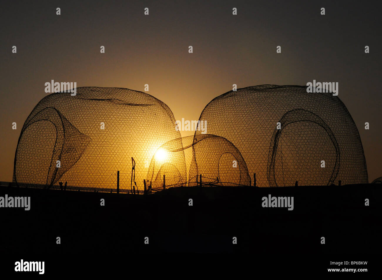 Le reti da pesca, tramonto Immagini Stock