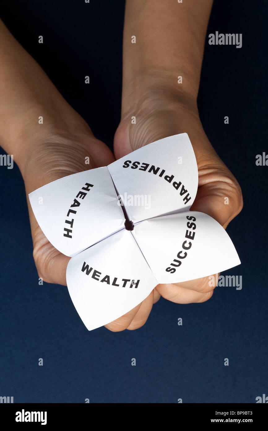 Carta Fortune Teller,concetto di equilibrio di vita Foto Stock