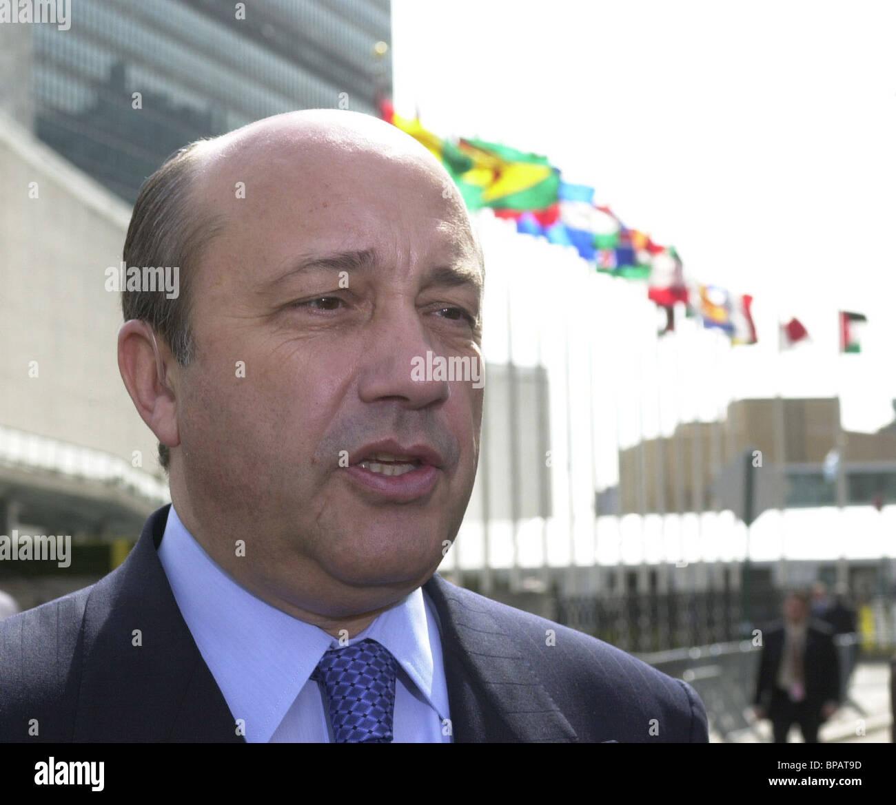 Il Ministro degli Esteri della Russia Igor Ivanov ha dato intervista per il primo canale della televisione Russa Immagini Stock