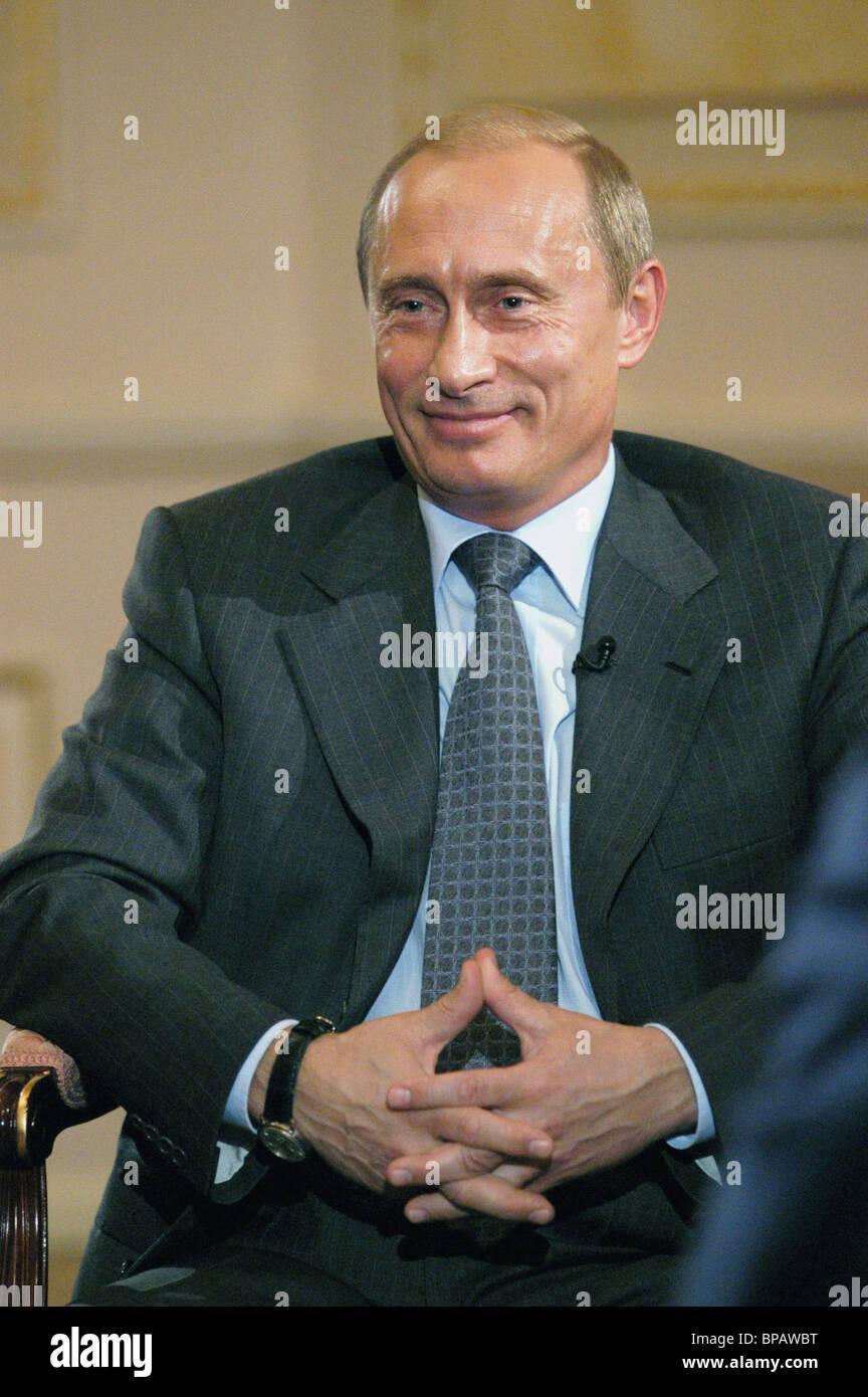 Il presidente della Russia Vladimir Putin ha dato intervista ai media italiani Immagini Stock