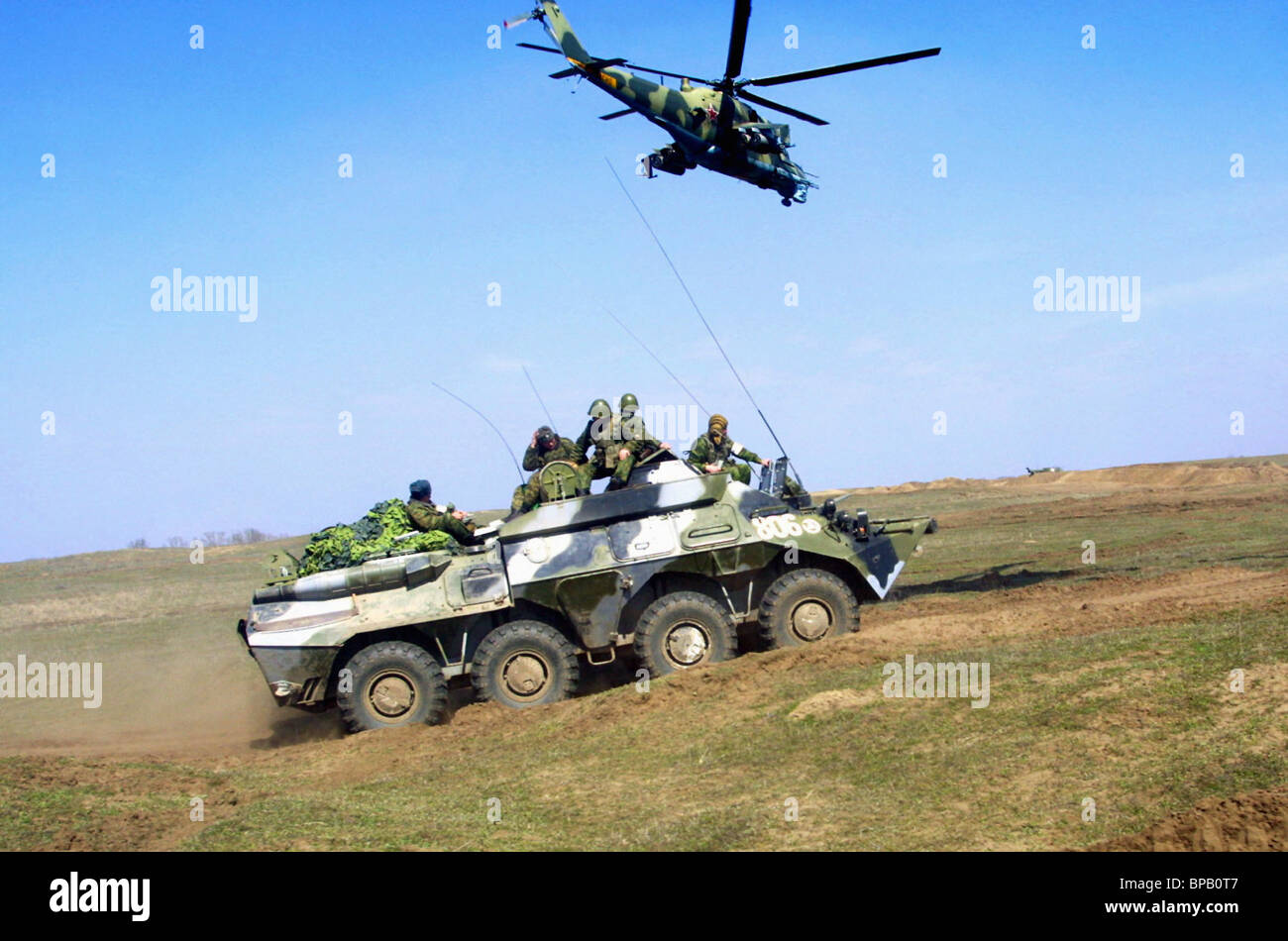 Grandi esercitazioni svolte sulla Stavropol Territory-Chechnya confine Immagini Stock