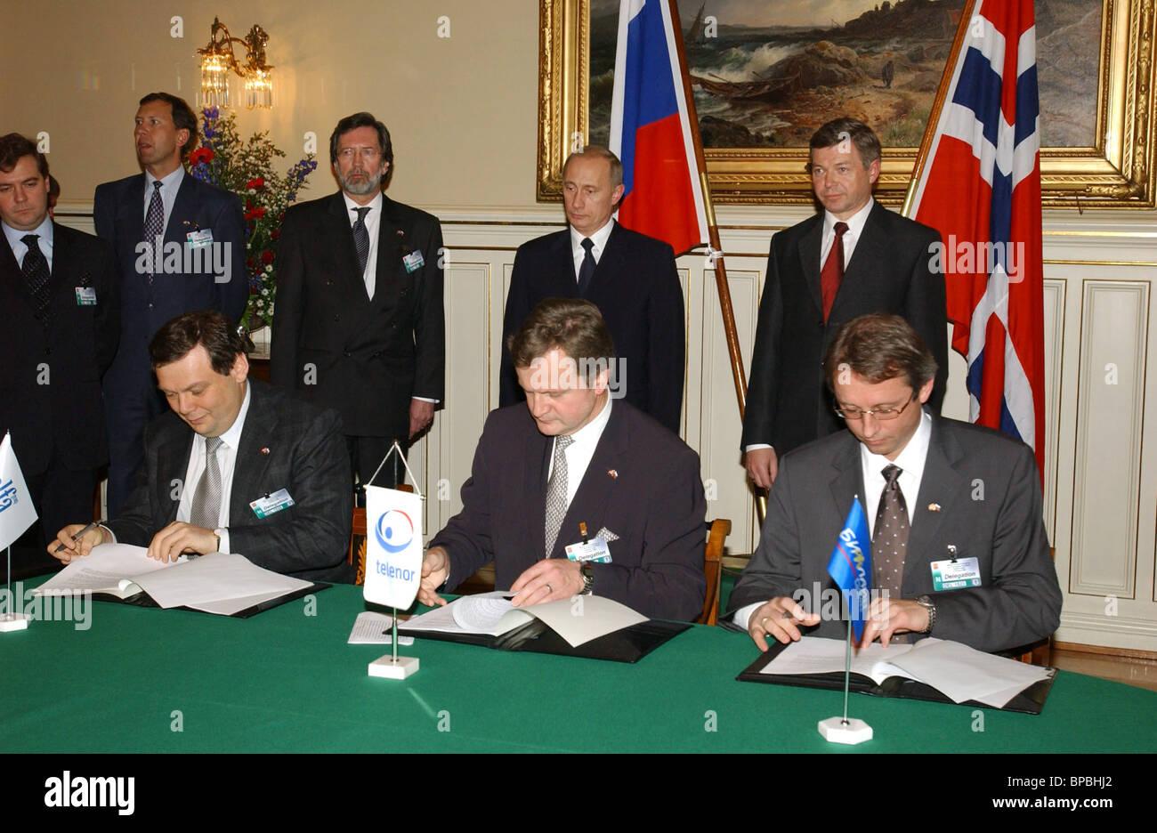 Investimenti su larga scala di accordo tra norvegese e imprese russe Immagini Stock