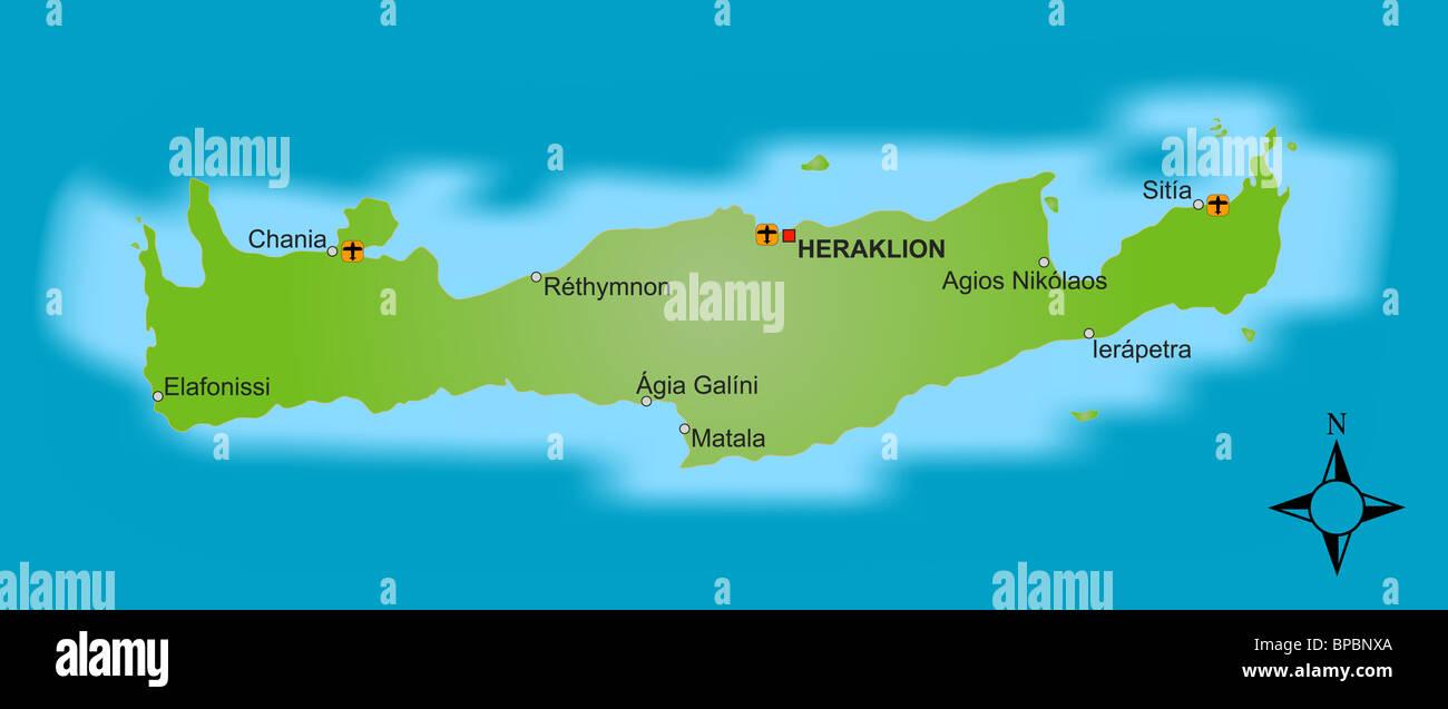 Cartina Geografica Dell Isola Di Creta.Una Mappa Stilizzata Dell Isola Greca Di Creta Che Mostra Diverse Citta Foto Stock Alamy