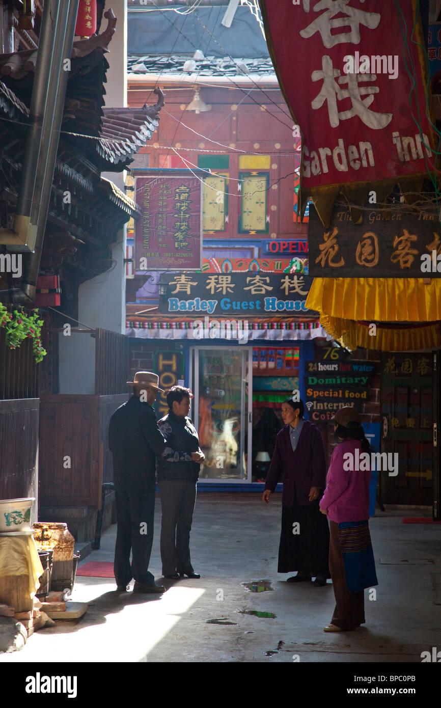 Città vecchia di Shangri-La o Zhongdian nella provincia di Yunnan in Cina Immagini Stock