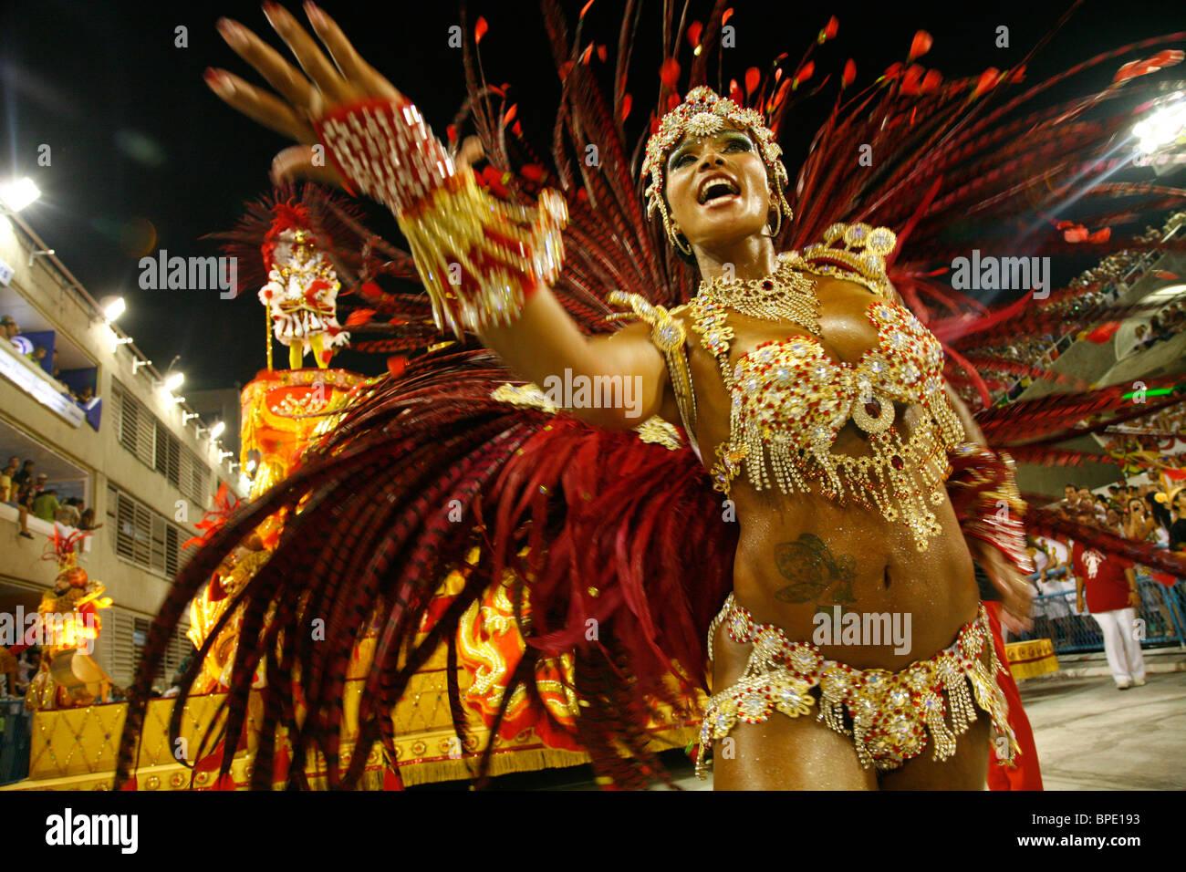 Sfilata di Carnevale al Sambodrome, 2010, Rio de janeiro, Brasile. Immagini Stock