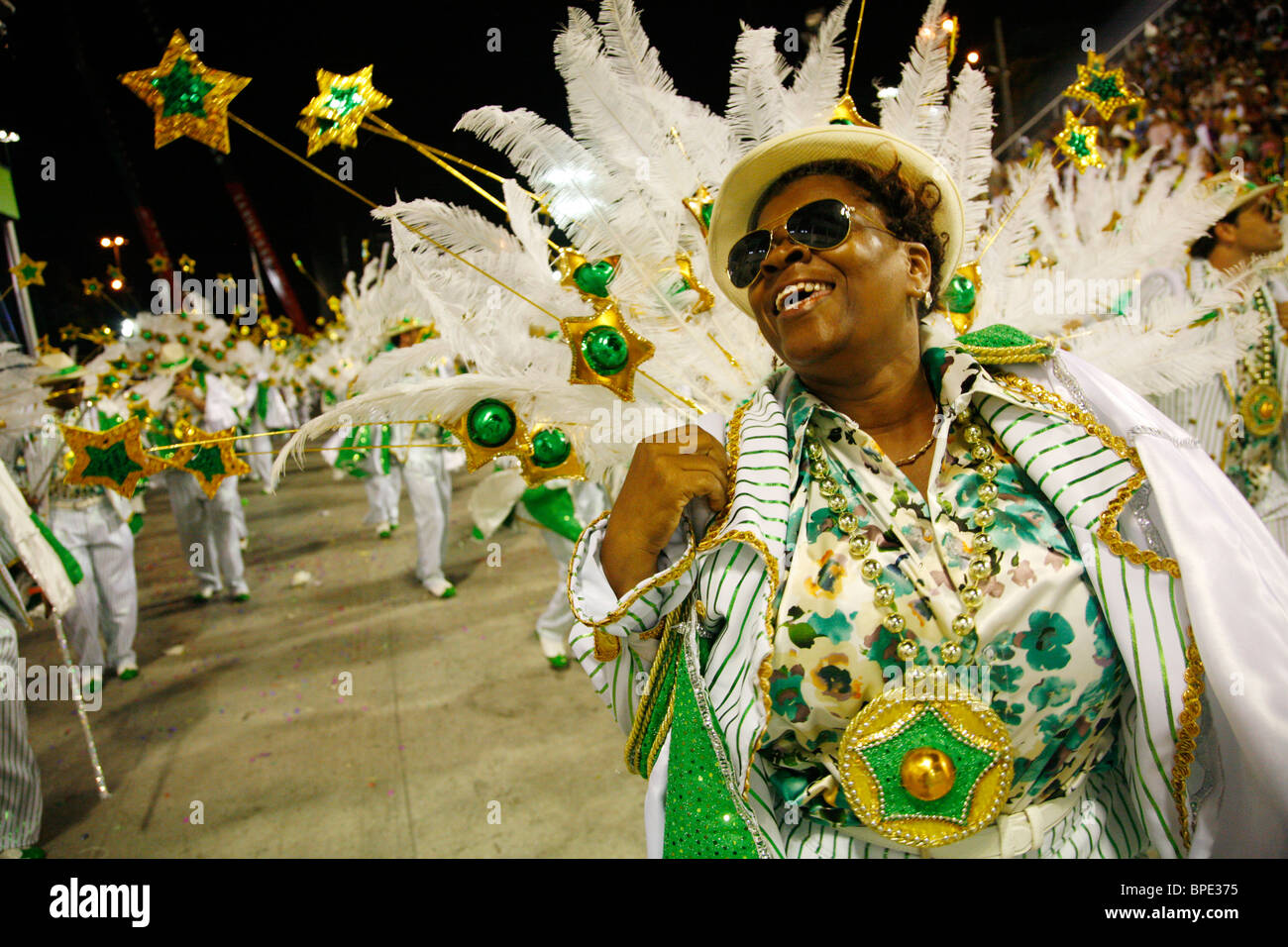 Sfilata di Carnevale al Sambodrome, Rio de Janeiro, Brasile. Immagini Stock
