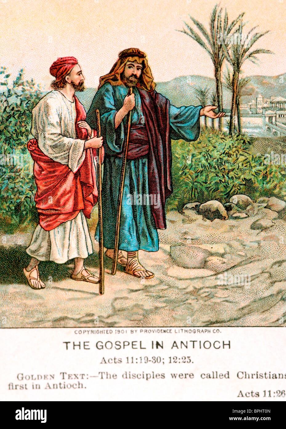 """Una vecchia Bibbia card raffigurante il """"Vangelo ad Antiochia,' Paolo sulla strada per la conversione Immagini Stock"""