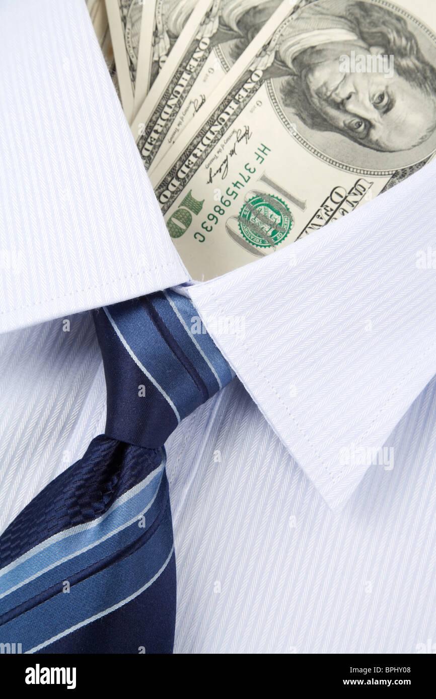 Camicia e il dollaro, il concetto di affari Immagini Stock