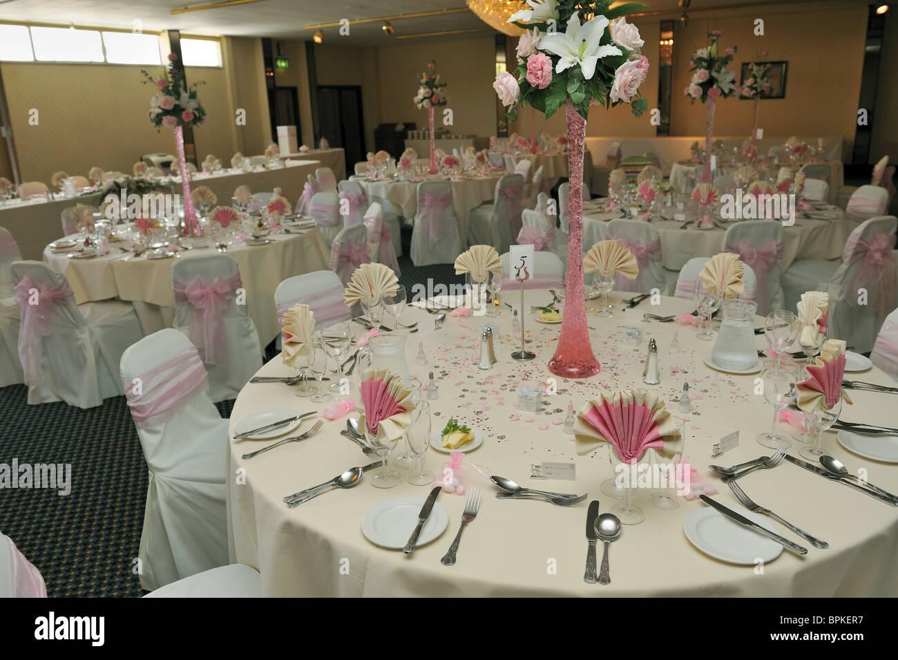 Ricevimento di nozze layout tabella Immagini Stock