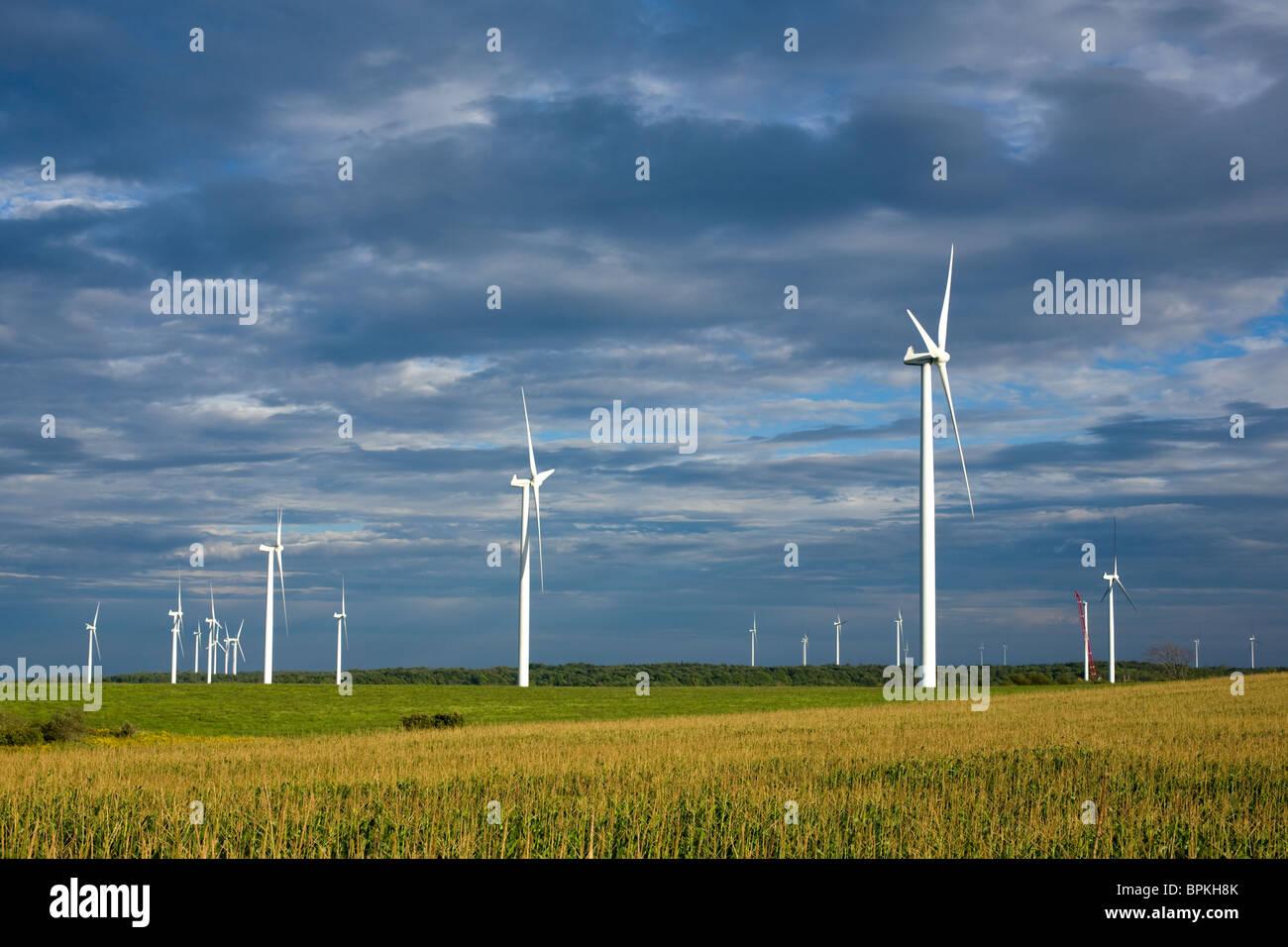 Turbine a vento sulla collina di rimorchiatore Plateau, il più grande progetto di energia eolica nello Stato Immagini Stock