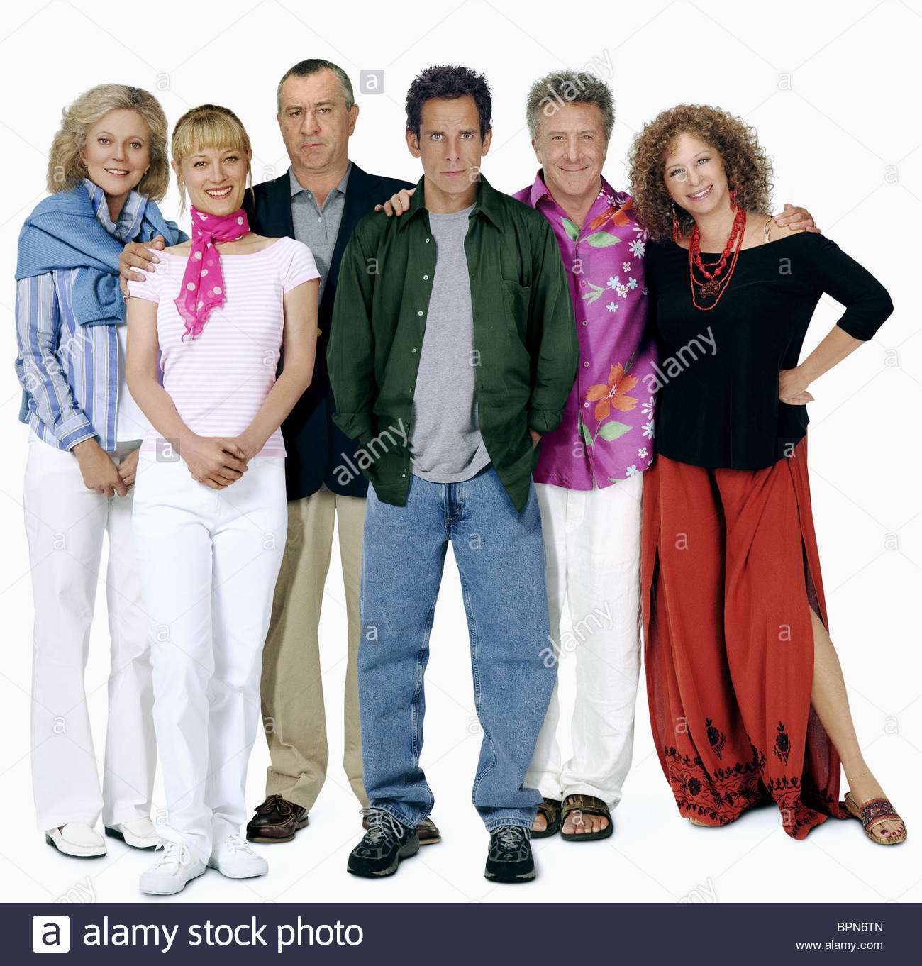 BLYTHE DANNER TERI POLO Robert De Niro Ben Stiller Dustin Hoffman e Barbra Streisand soddisfano i FOCKERS (2004) Immagini Stock