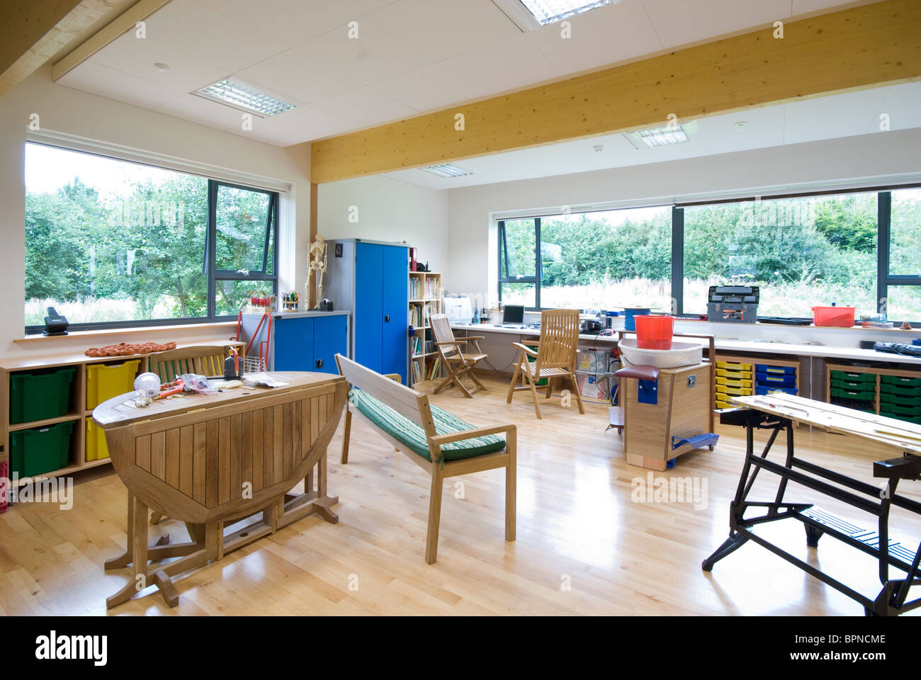 Warren Park School, Havant - Bourne edificio. Ambientali naturali dipartimento scienza classroom Immagini Stock