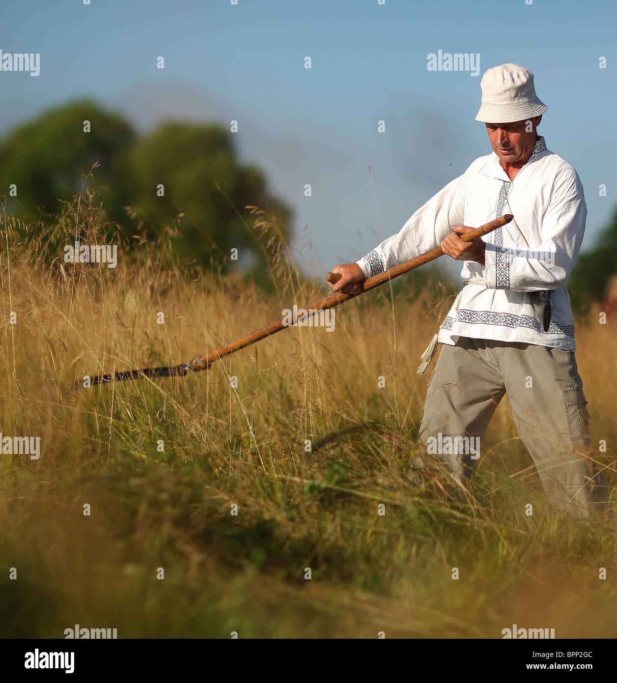 Scythemen competere nelle loro competenze nella Regione di Ivanovo Immagini Stock