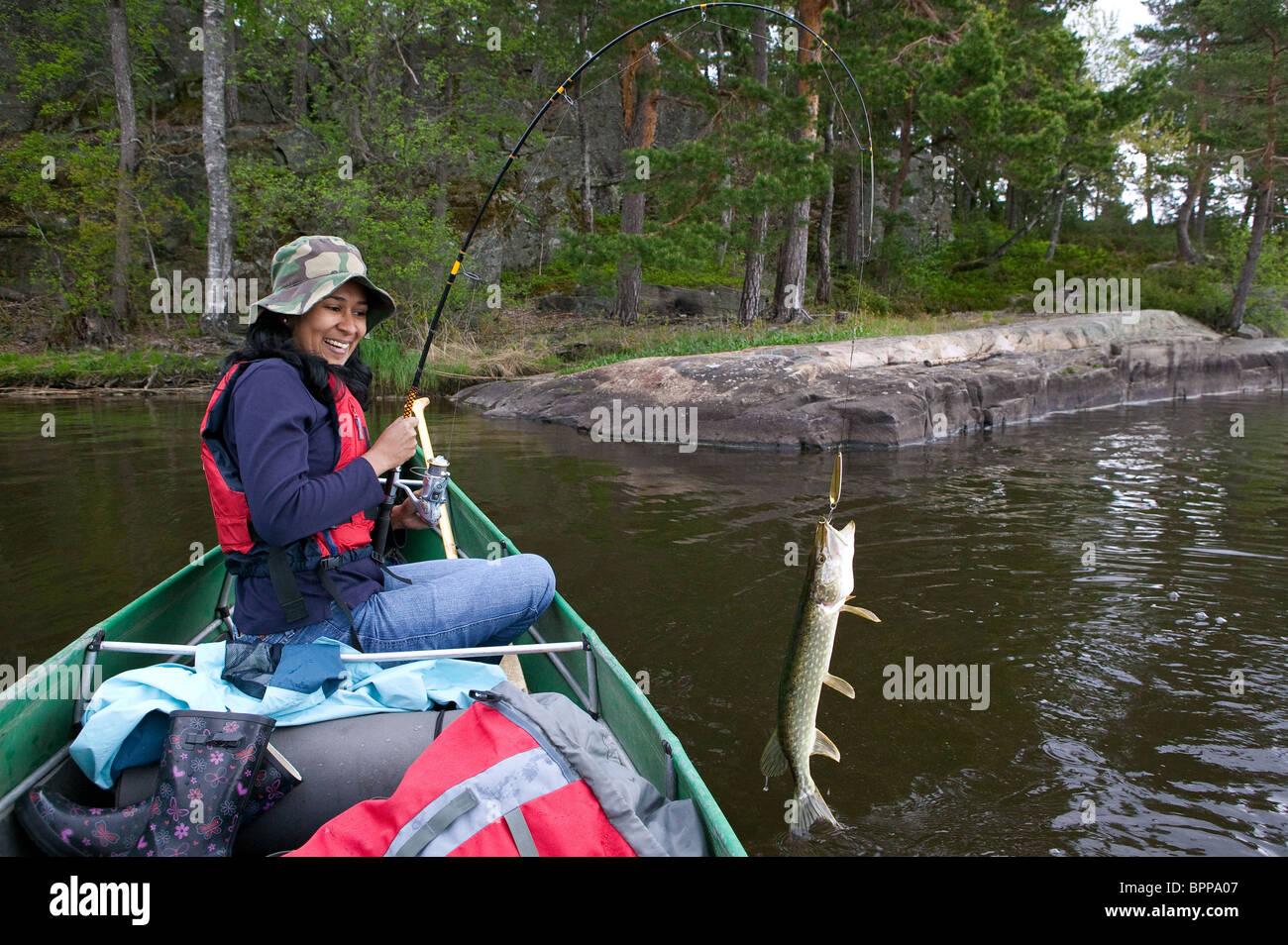 Ragazza la manipolazione di un luccio del nord, Esox lucius, catturati nel lago Vansjø, Østfold fylke, Immagini Stock