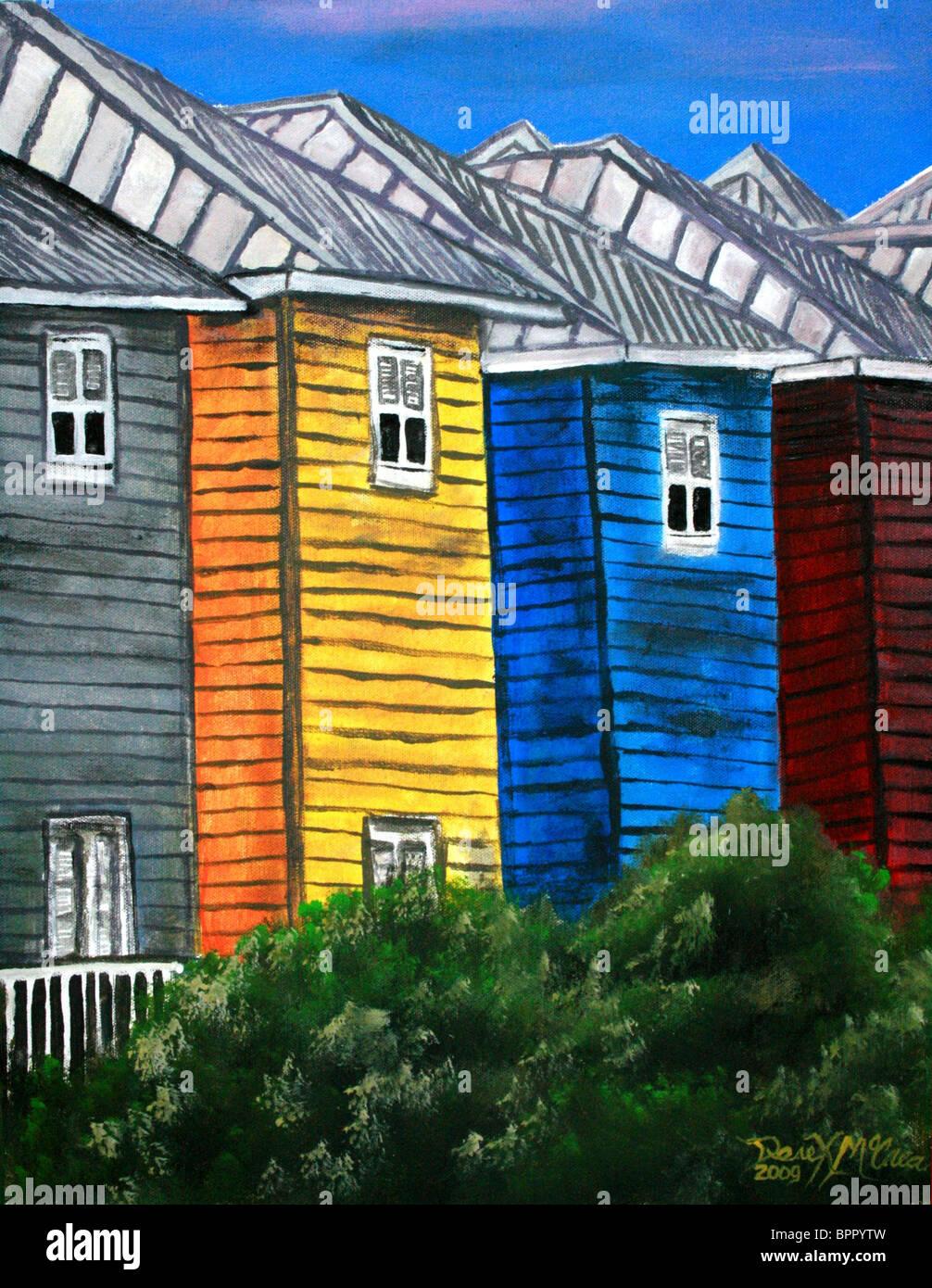 Case sulla spiaggia la pittura ad olio costiere arte tropicale Immagini Stock