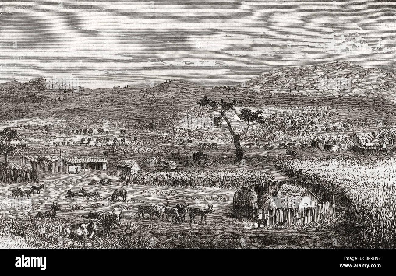 Un insediamento in Kouihara, Africa occidentale, nel XIX secolo. Immagini Stock