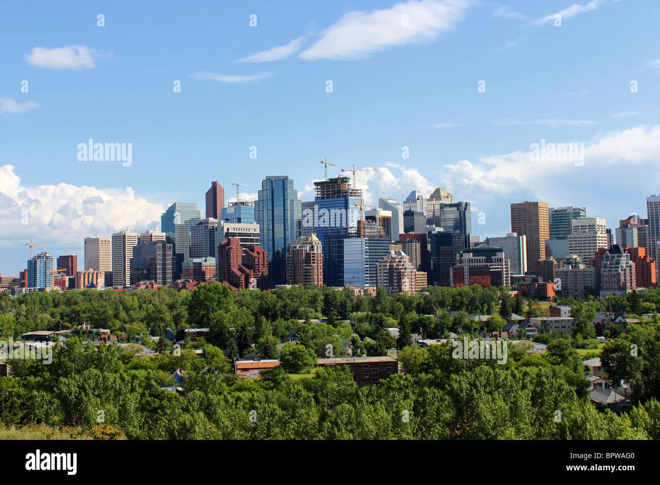 Vista dello Skyline di alto ufficio e edifici di appartamenti a Calgary, Alberta, Canada con il verde in primo piano Immagini Stock