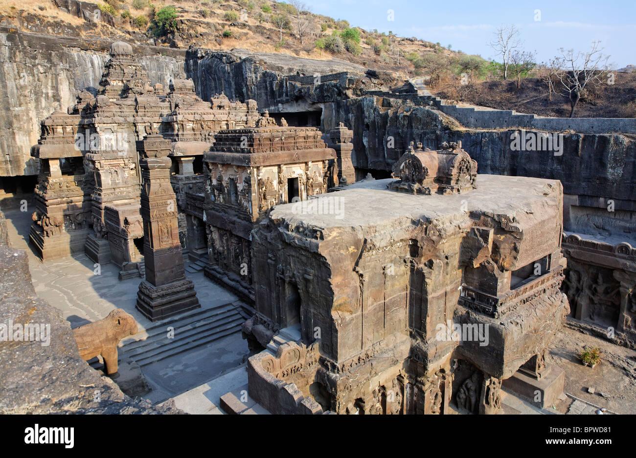 Kailash tempio, Grotte di Ellora, nello stato del Maharashtra, India Immagini Stock