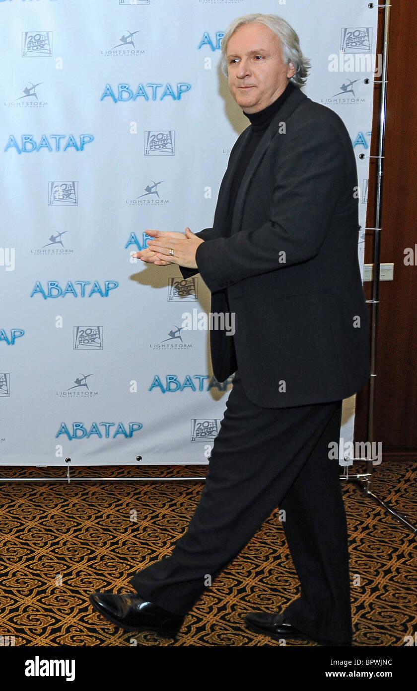 James Cameron porta nuova 3-D'Avatar blockbuster a Mosca Immagini Stock